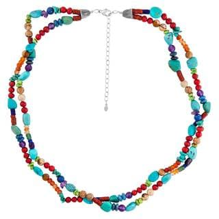 Sterling Silver Multi-stone Beaded Necklace