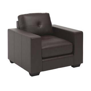 CorLiving Club Tufted Bonded Leather Armchair (Option: Chocolate Brown)