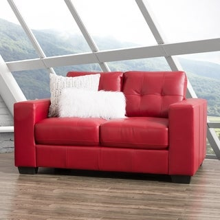 CorLiving Club Tufted Bonded Leather Loveseat
