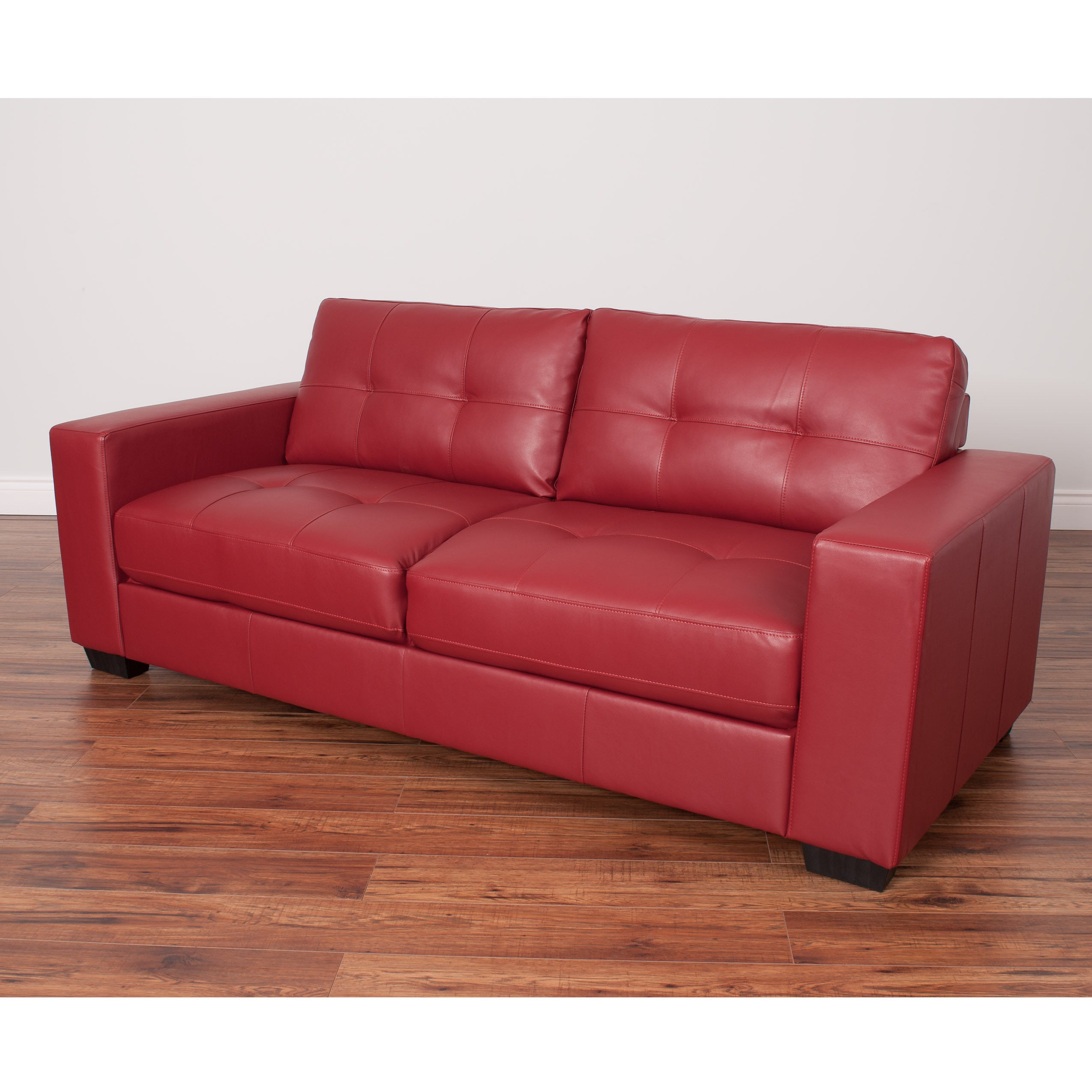 CorLiving Club Tufted Bonded Leather Sofa (Red)
