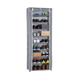 Wee's Beyond Grey Metal and Fabric 9-tier Shoe Closet with Roll-up door