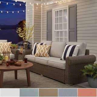 NAPA LIVING Barbados Wicker Outdoor Cushioned Sofa - Mocha Rolled Arm
