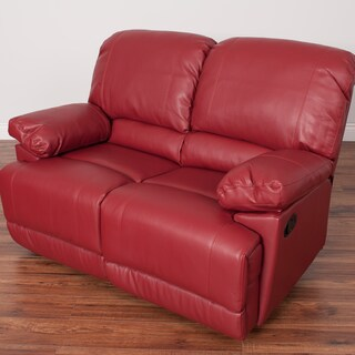 CorLiving Lea Bonded Leather Reclining Loveseat (Option: Red)
