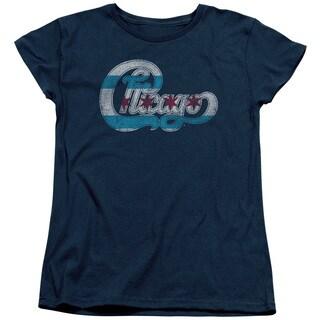 Chicago/Flag Logo Short Sleeve Women's Tee in Navy