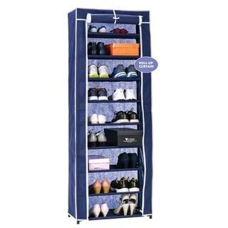 Blue Metal/Fabric 9-tier Roll-up Door Shoe Closet