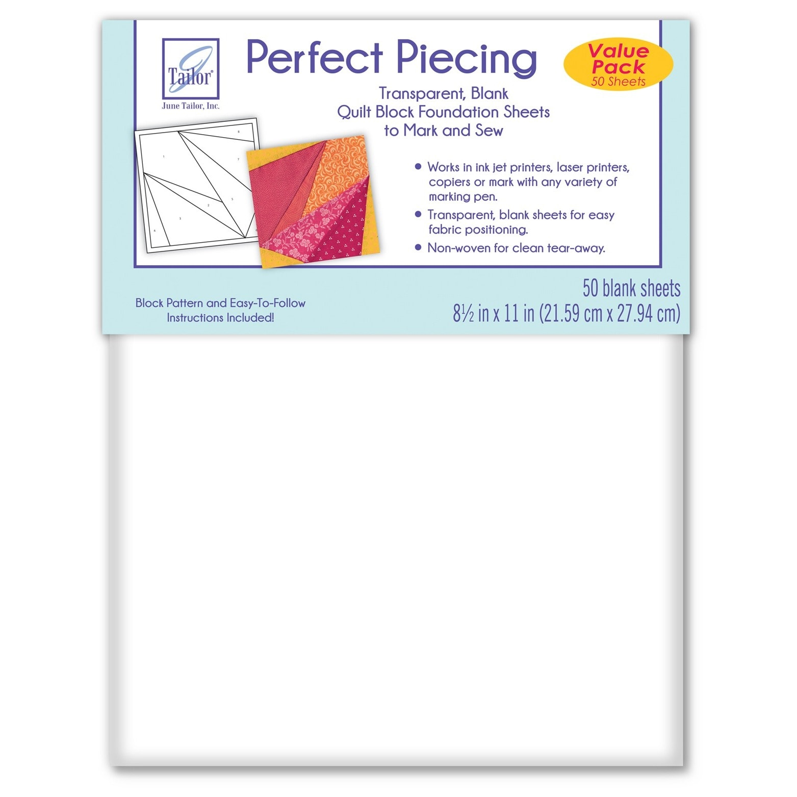 June Tailor Perfect Piecing White Paper Quilt Block Found...