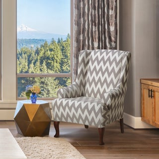 Chevron Grey Wing Chair Stretch Slipcover