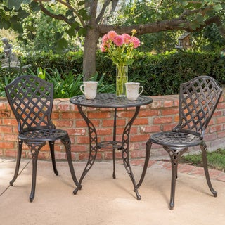 la sola outdoor 3 piece cast aluminum bistro set by christopher knight home - Best Outdoor Patio Furniture