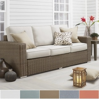 Barbados Wicker Outdoor Cushioned Brown Mocha Sofa with Square Arm by NAPA LIVING