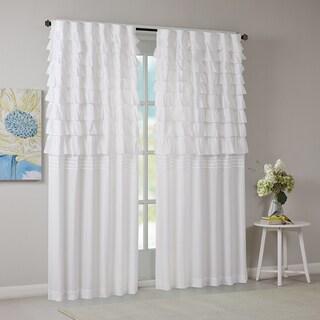 Intelligent Design Demi White Ruched Window Curtain Panel