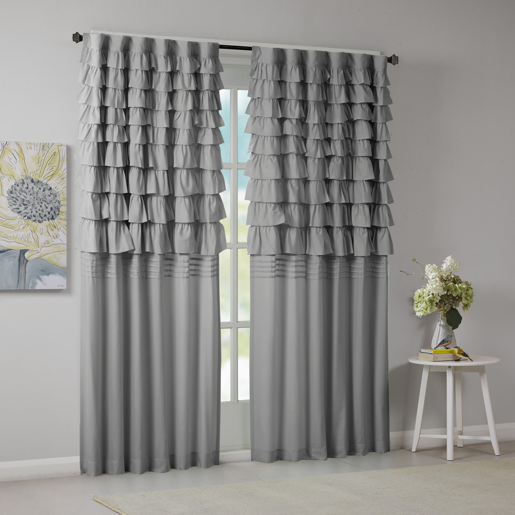 Shop Intelligent Design Delia Grey Ruched Window Curtain