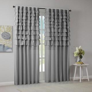Intelligent Design Delia Grey Ruched Window Curtain Panel