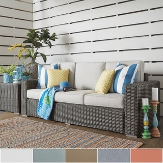 Barbados Wicker Outdoor Cushioned Grey Charcoal Sofa with Square Arm by NAPA LIVING