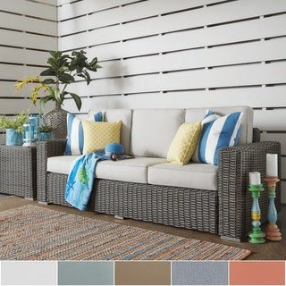NAPA LIVING Barbados Wicker Outdoor Cushioned Sofa - Charcoal Square Arm