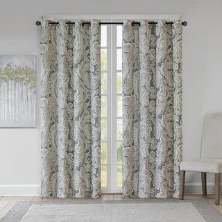 Madison Park Racine Grey Cotton Printed Paisley Curtain Panel (As Is Item)