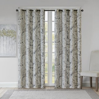 Madison Park Racine Grey Cotton Printed Paisley Curtain Panel