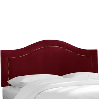 Skyline Furniture Inset Nail Button Headboard in Velvet Berry