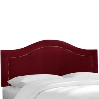 Skyline Furniture Inset Nail Button Headboard in Velvet Berry