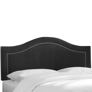 Skyline Furniture Velvet Black Inset Nail Button Headboard