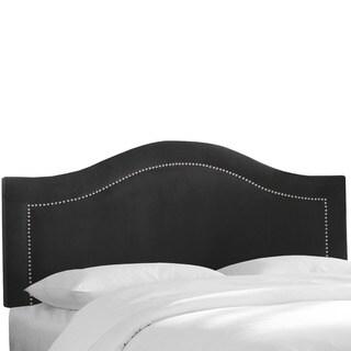 Skyline Furniture Velvet Black Inset Nail Button Headboard