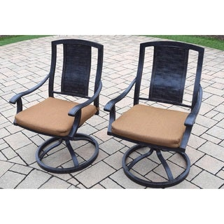 Set of 2 Sunbrella Aluminum Outdoor Swivel Rocker Dining Chairs
