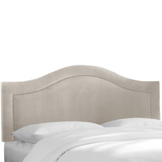 Skyline Furniture Velvet Light Grey Inset Nail Button Headboard