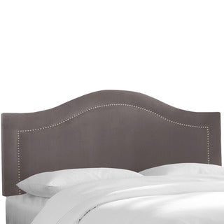 Skyline Furniture Velvet Steel Grey Inset Nail Button Headboard