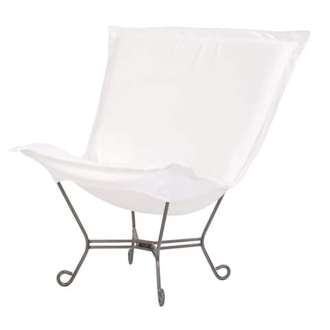 Scroll Puff Chair with Cover, Titanium Frame, Seascape Natural