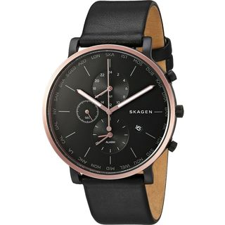 Skagen Men's SKW6300 'Hagen World Time and Alarm' Chronograph Black Leather Watch