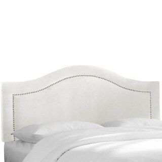 Skyline Furniture Velvet White Inset Nail Button Headboard