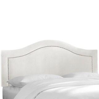 Skyline Furniture Velvet White Inset Nail Button Headboard