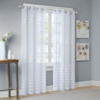 Madison Park Kira White Embroidered Sheer Window Curtain Panel