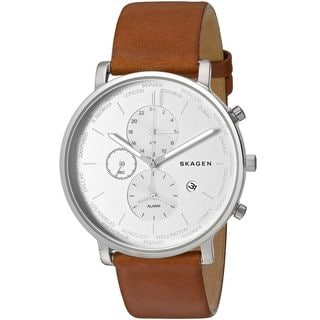 Skagen Men's SKW6299 'Hagen World Time and Alarm' Chronograph Brown Leather Watch