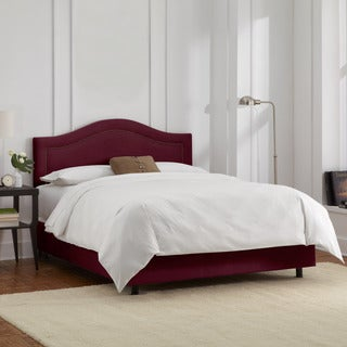 Skyline Furniture Velvet Berry Inset Nail Button Bed