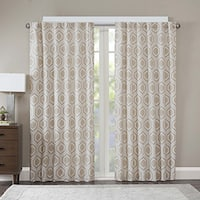 Madison Park Leada Metallic Jacquard Curtain Panel
