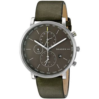 Skagen Men's SKW6298 'Hagen World Time and Alarm' Chronograph Green Leather Watch