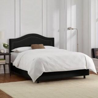 Skyline Furniture Velvet Black Inset Nail Button Bed