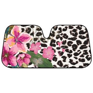 Pink Hibiscus Orchid Leopard Folding Windshield Sunshade