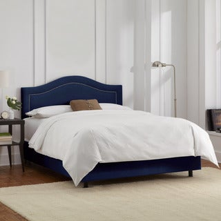 Skyline Furniture Velvet Navy Inset Nail Button Bed