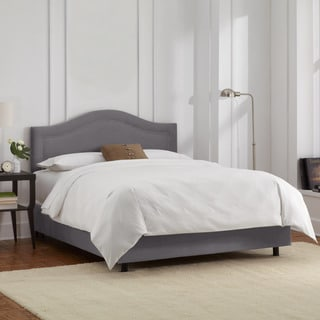 Skyline Furniture Velvet Steel Grey Inset Nail Button Bed