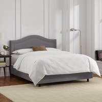 Skyline Furniture Velvet Steel Grey Inset Nail Button Bed
