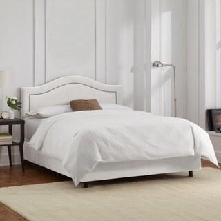 Skyline Furniture Velvet White Inset Nail Button Bed