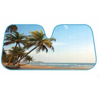 Palm Tree Tropical Island Sunset Bubble Foil Folding Accordion-style Auto Sunshade for Car/SUV/Truck