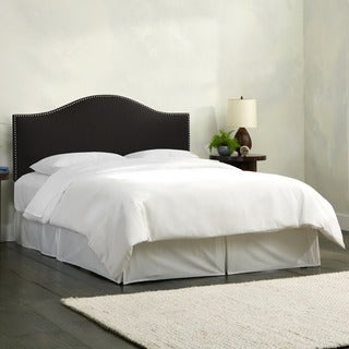Skyline Furniture Linen Black Nail Button Headboard