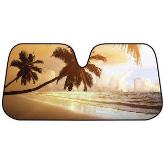 Beach Sunset Goldtone Foil Bubble Folding Auto Windshield Sun Shade