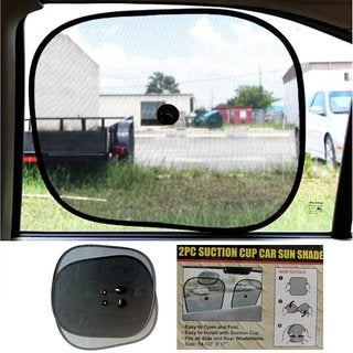 Black Foldable Car Window Sunshade with Suction Cups (Set of 2)