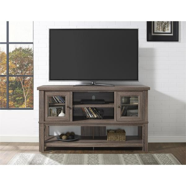 Ameriwood home everett 70 inch sonoma oak tv stand with glass doors