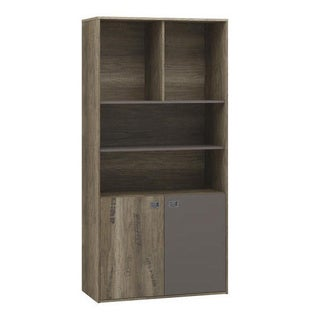 Voelkel Voyager Collection Wide Oak Bookcase