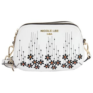 Nicole Lee Rosalie White Faux-leather/Nylon Floral Emboidery Crossbody Handbag