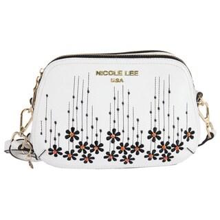 Nicole Lee Rosalie White Faux-leather/Nylon Floral Emboidery Crossbody Handbag
